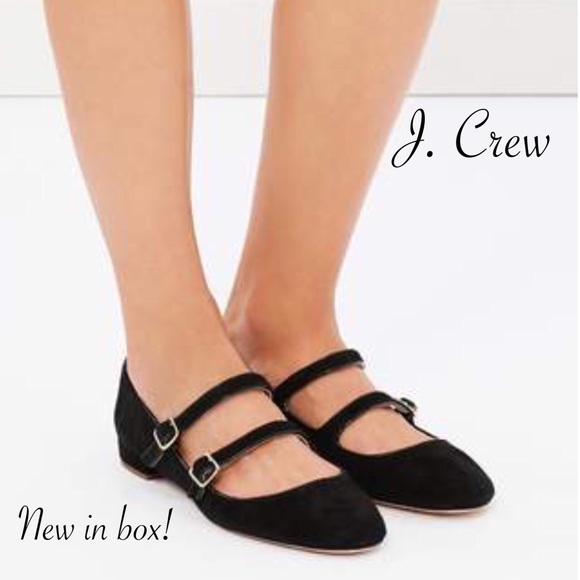 J. Crew NEW Suede Multi-Strap Mary Jane Flat Black